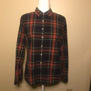 J. Crew long sleeve button down plaid Sz 8 EUC